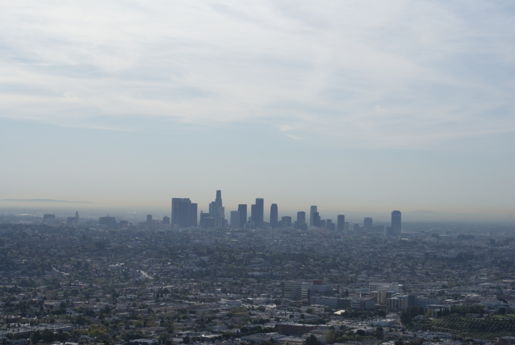 The smog hanging over the car-addicted Los Angeles is visible most of the time