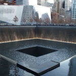 The memorial pools in the footprints of former twin towers bear the names of 9-11 victims