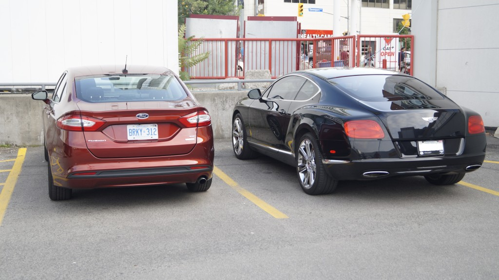 Although the Fusion costs about one tenth of the Bentley Continental Coupe, the appearance does not justify this difference. Do not be shy of parking your Fusion beside the Bentley.