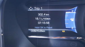 The average consumption above 18 liter is a bit disappointing, but not surprising for a vehicle weighing 2,743 kg.